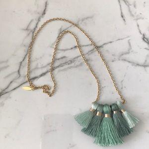Jewelry - Tassel necklace mint/aqua gold new never worn